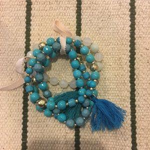 Jewelry - Blue tassel beaded bracelet set of 4